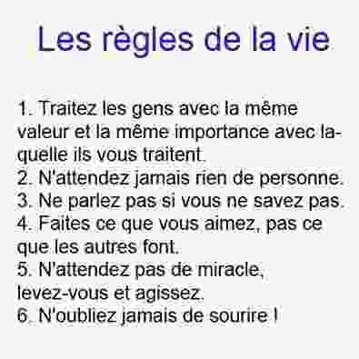 Les règles de la vie