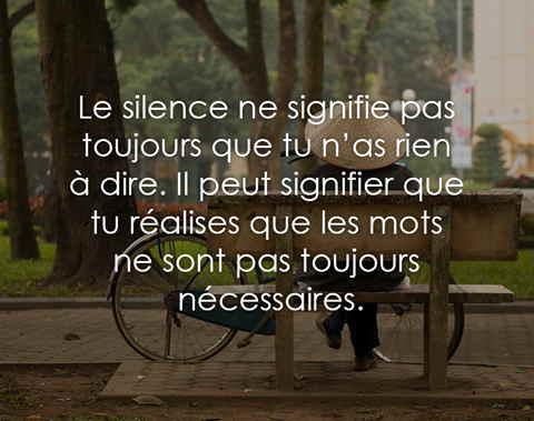 Le silence ne signifie pas toujours que tu n'as rien à dire .